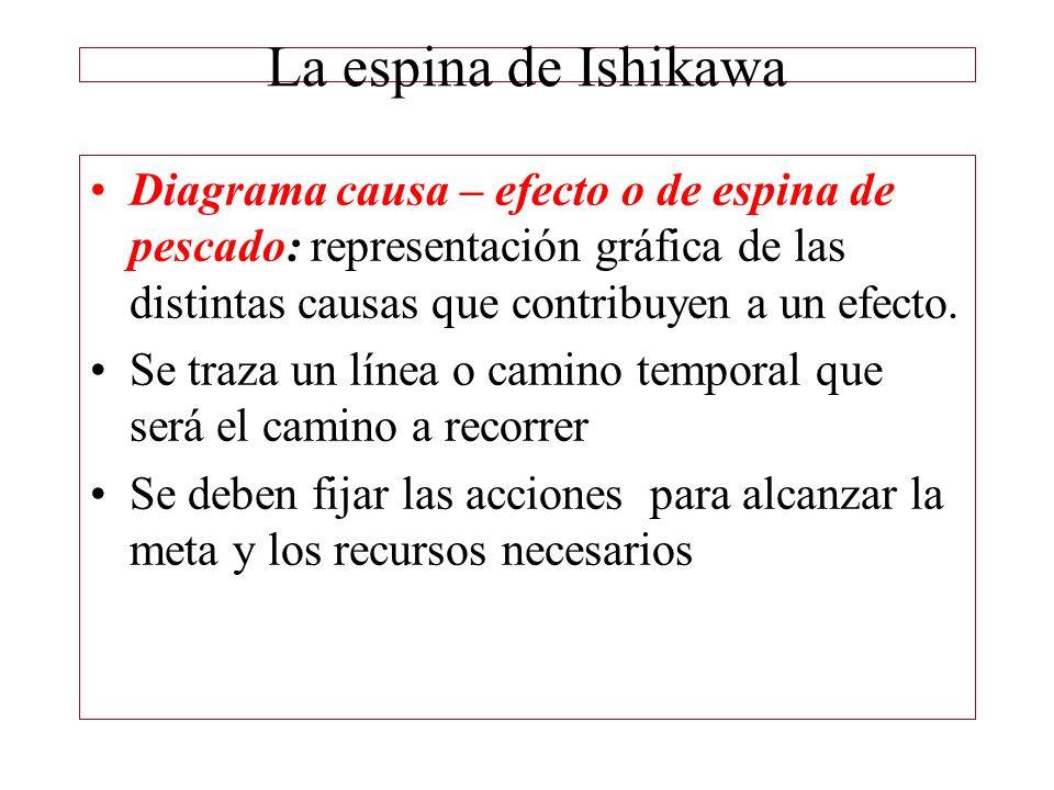 La espina de Ishikawa Diagrama causa – efecto o de espina de pescado: representación gráfica de las distintas causas que contribuyen a un efecto.