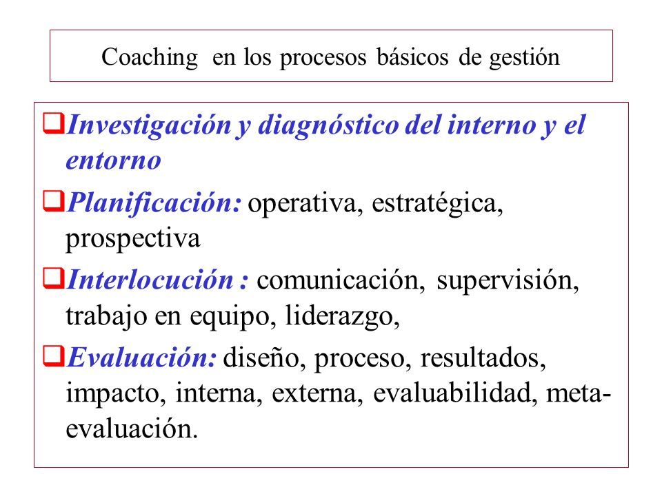 Coaching en los procesos básicos de gestión