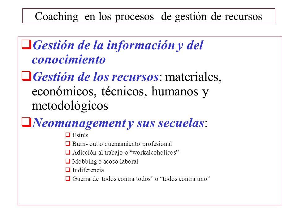Coaching en los procesos de gestión de recursos