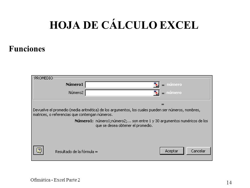 HOJA DE CÁLCULO EXCEL Funciones