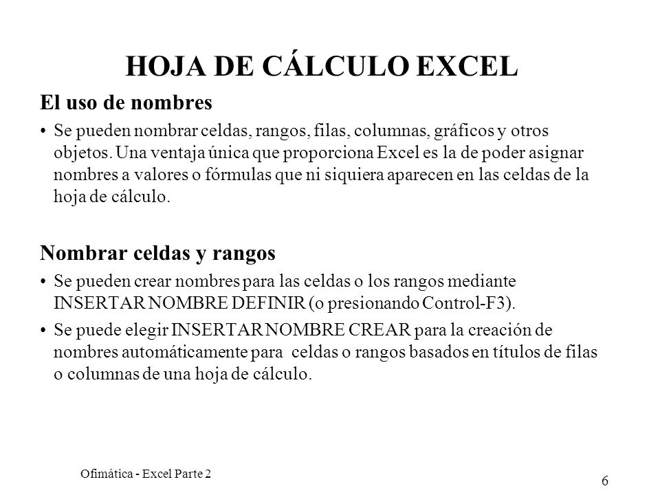 Ofimática - Excel Parte 2