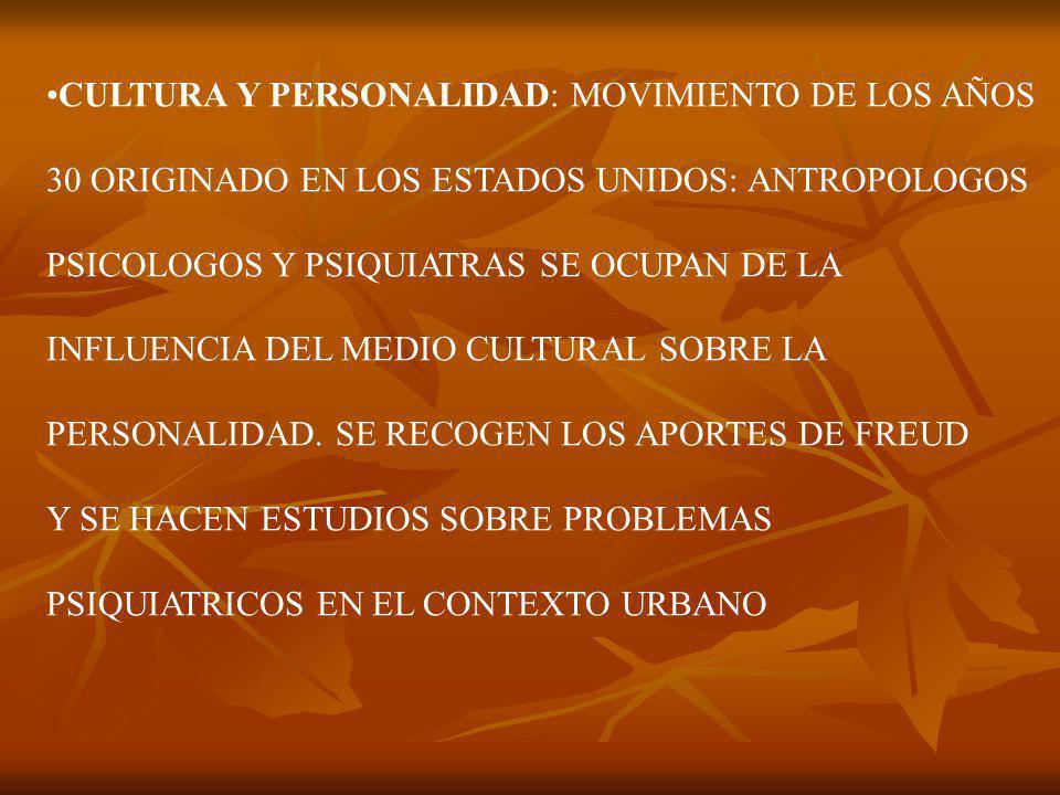 CULTURA Y PERSONALIDAD: MOVIMIENTO DE LOS AÑOS