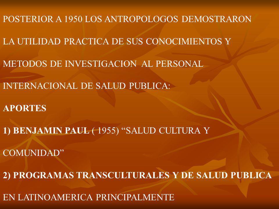 POSTERIOR A 1950 LOS ANTROPOLOGOS DEMOSTRARON