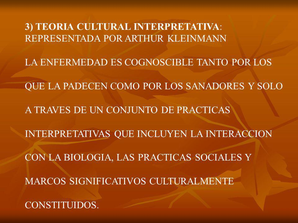 3) TEORIA CULTURAL INTERPRETATIVA: