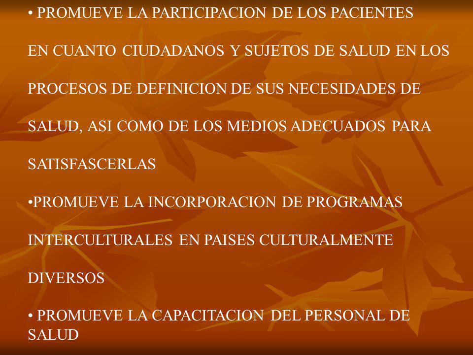 PROMUEVE LA PARTICIPACION DE LOS PACIENTES