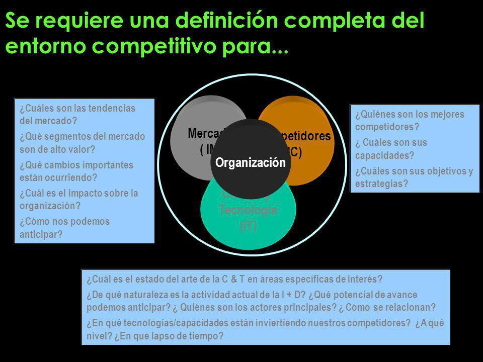 Se requiere una definición completa del entorno competitivo para...