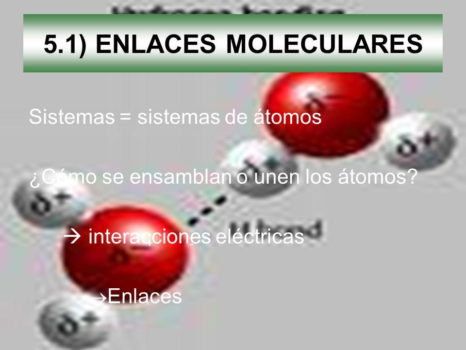 5.1) ENLACES MOLECULARES Sistemas = sistemas de átomos