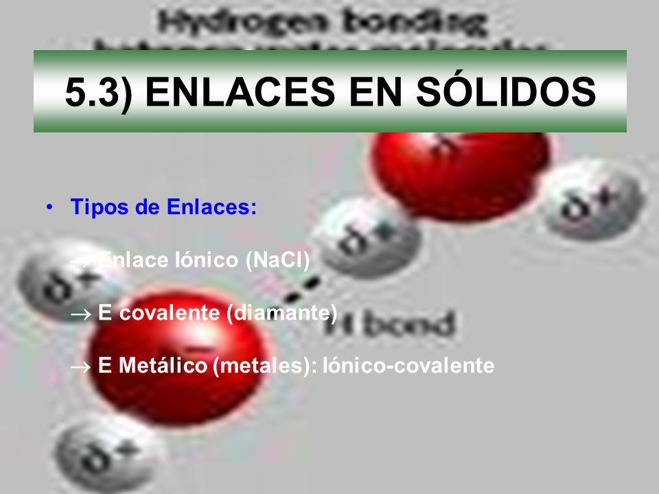 5.3) ENLACES EN SÓLIDOS Tipos de Enlaces:  Enlace Iónico (NaCl)
