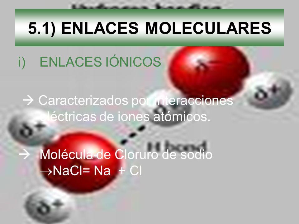 5.1) ENLACES MOLECULARES ENLACES IÓNICOS