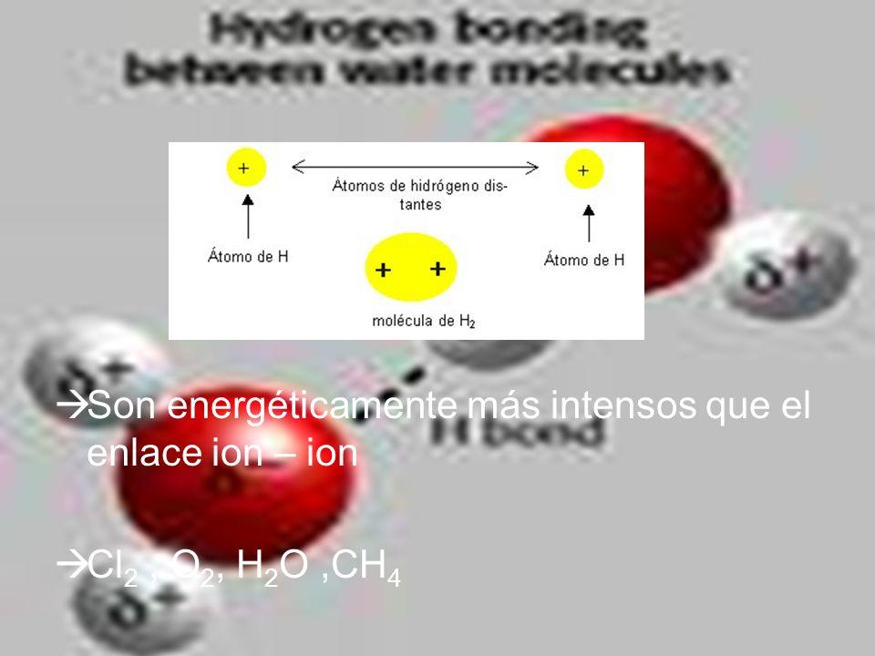 Son energéticamente más intensos que el enlace ion – ion