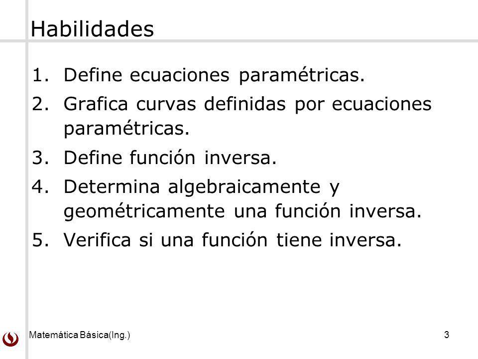 Habilidades Define ecuaciones paramétricas.