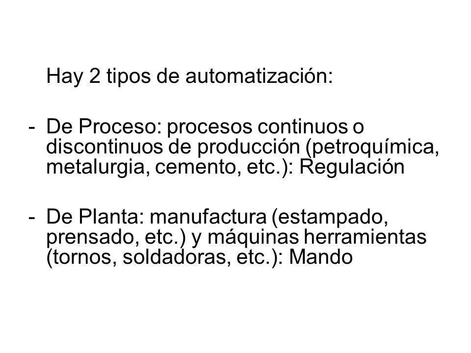 Hay 2 tipos de automatización: