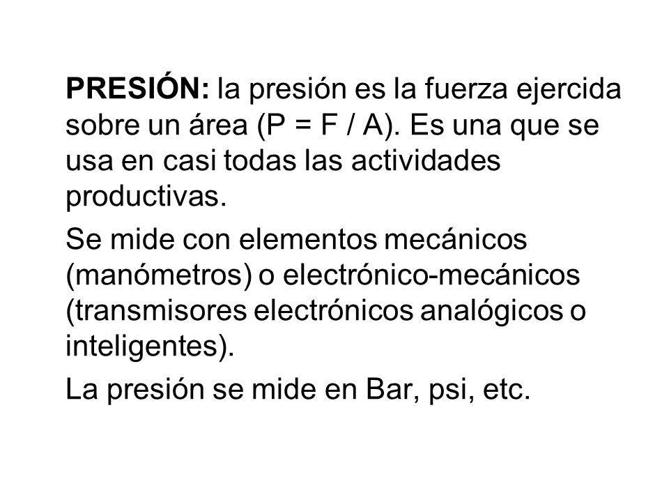 PRESIÓN: la presión es la fuerza ejercida sobre un área (P = F / A)