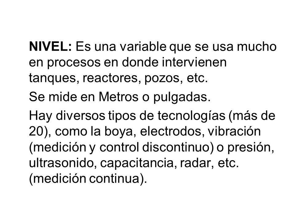 NIVEL: Es una variable que se usa mucho en procesos en donde intervienen tanques, reactores, pozos, etc.