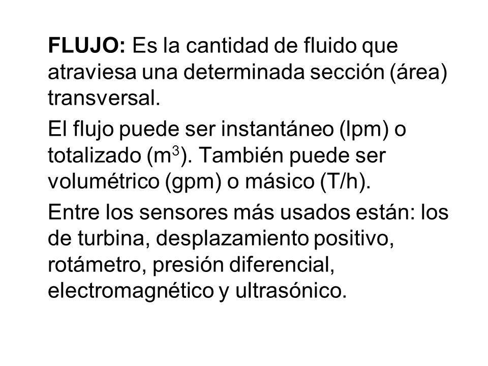 FLUJO: Es la cantidad de fluido que atraviesa una determinada sección (área) transversal.