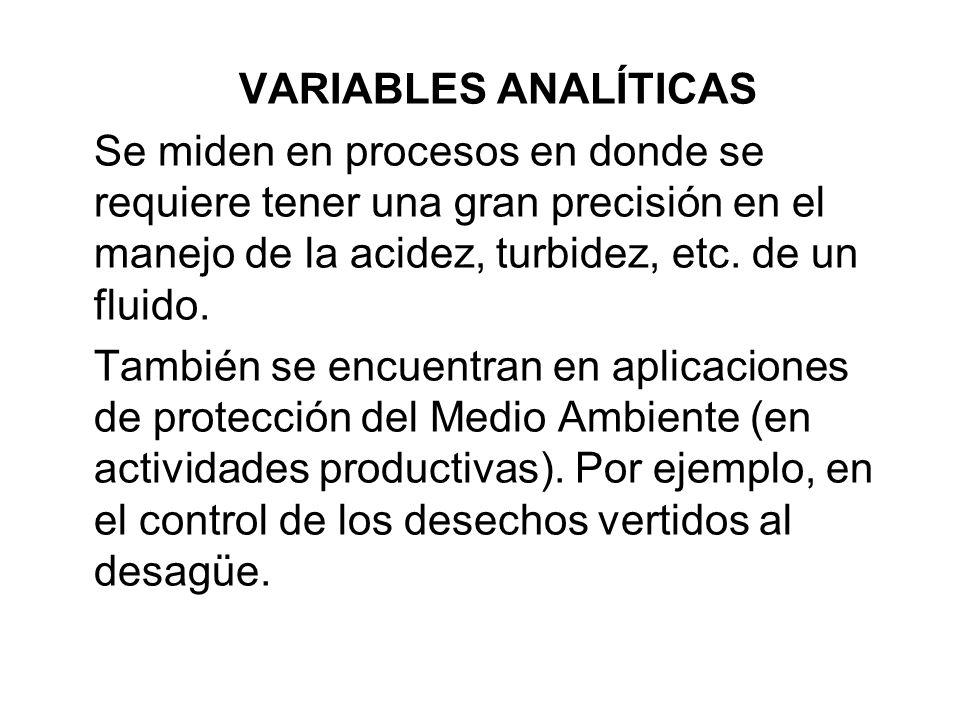 VARIABLES ANALÍTICAS Se miden en procesos en donde se requiere tener una gran precisión en el manejo de la acidez, turbidez, etc. de un fluido.