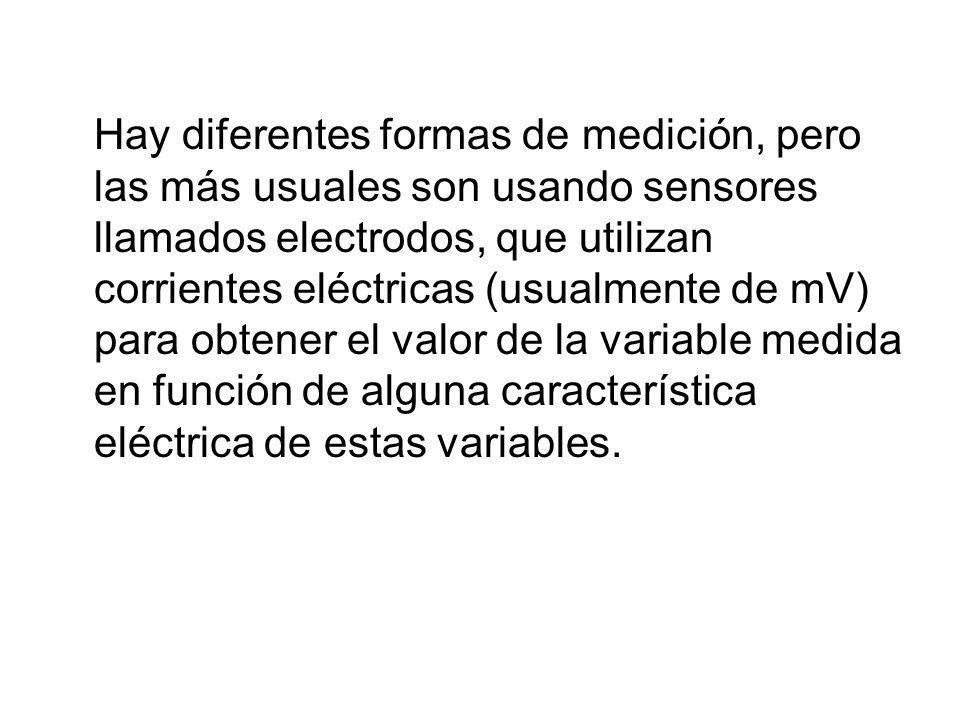 Hay diferentes formas de medición, pero las más usuales son usando sensores llamados electrodos, que utilizan corrientes eléctricas (usualmente de mV) para obtener el valor de la variable medida en función de alguna característica eléctrica de estas variables.