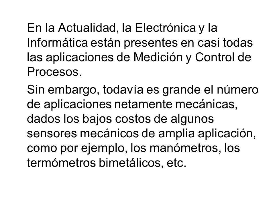 En la Actualidad, la Electrónica y la Informática están presentes en casi todas las aplicaciones de Medición y Control de Procesos.