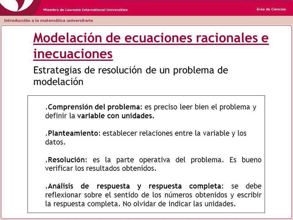Modelación de ecuaciones racionales e inecuaciones