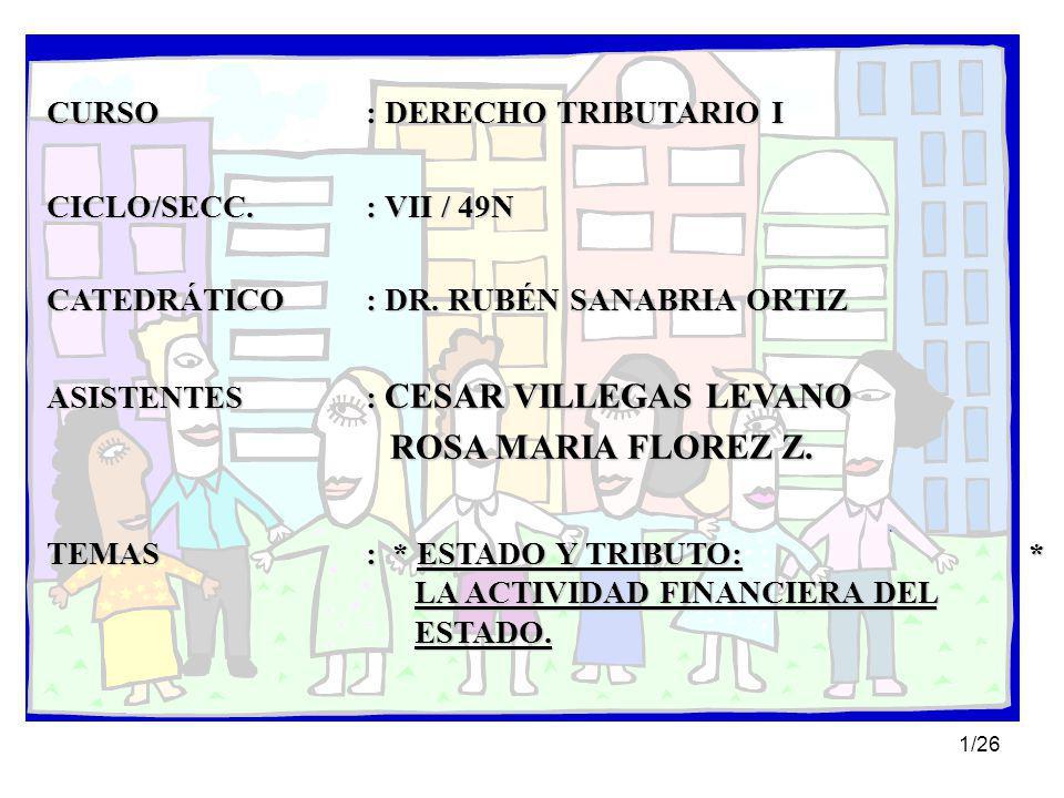 CURSO : DERECHO TRIBUTARIO I