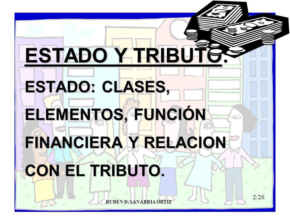 ESTADO Y TRIBUTO: ESTADO: CLASES, ELEMENTOS, FUNCIÓN FINANCIERA Y RELACION CON EL TRIBUTO.