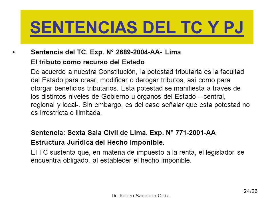 SENTENCIAS DEL TC Y PJ Sentencia del TC. Exp. N° 2689-2004-AA- Lima