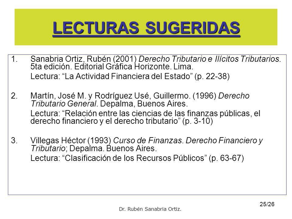 LECTURAS SUGERIDAS Sanabria Ortiz, Rubén (2001) Derecho Tributario e Ilícitos Tributarios. 5ta edición. Editorial Gráfica Horizonte. Lima.
