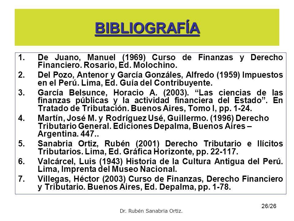 BIBLIOGRAFÍA De Juano, Manuel (1969) Curso de Finanzas y Derecho Financiero. Rosario, Ed. Molochino.