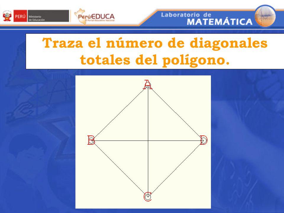 Traza el número de diagonales totales del polígono.