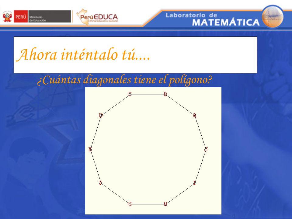 Ahora inténtalo tú.... ¿Cuántas diagonales tiene el polígono