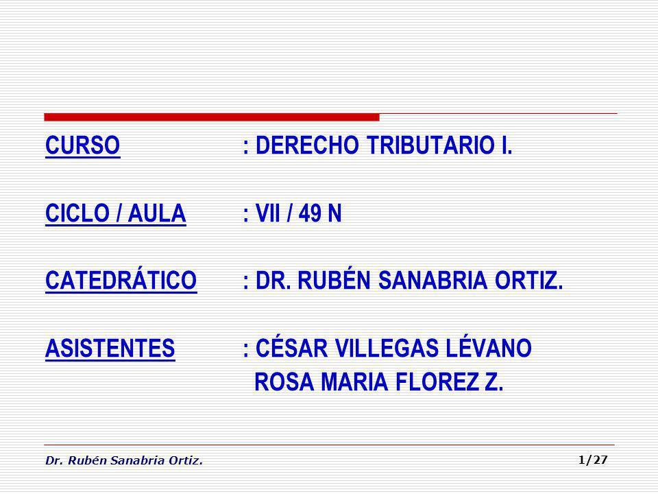 CURSO. : DERECHO TRIBUTARIO I. CICLO / AULA. : VII / 49 N CATEDRÁTICO