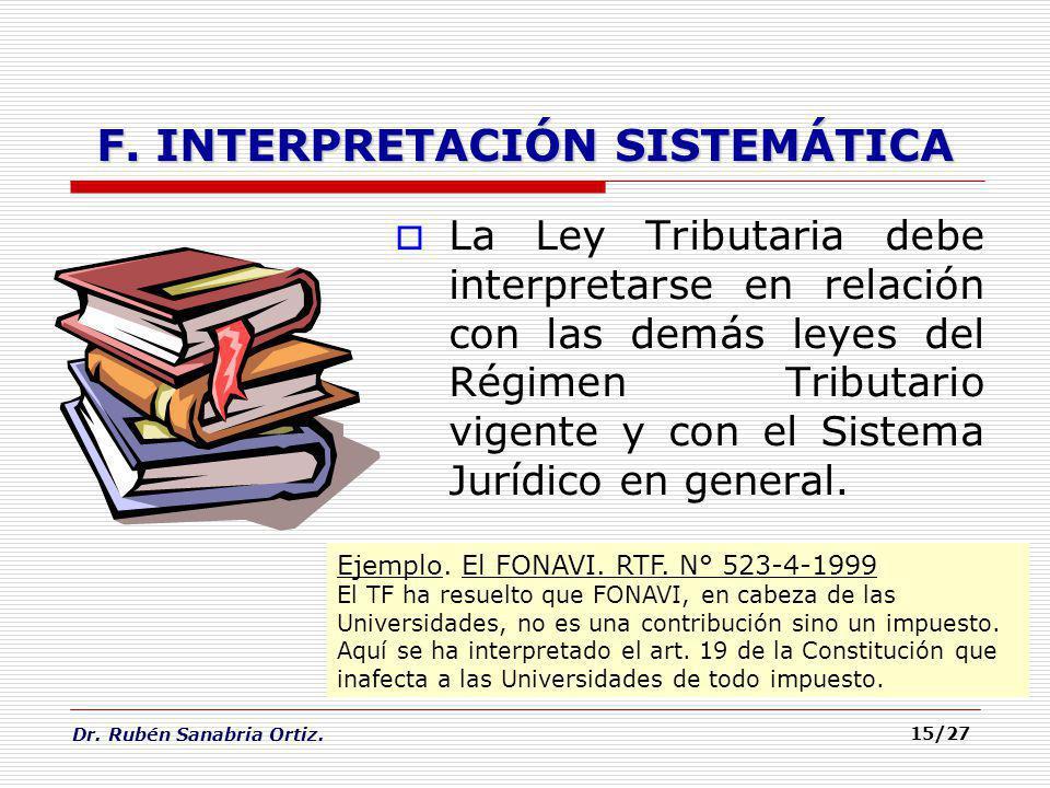 F. INTERPRETACIÓN SISTEMÁTICA