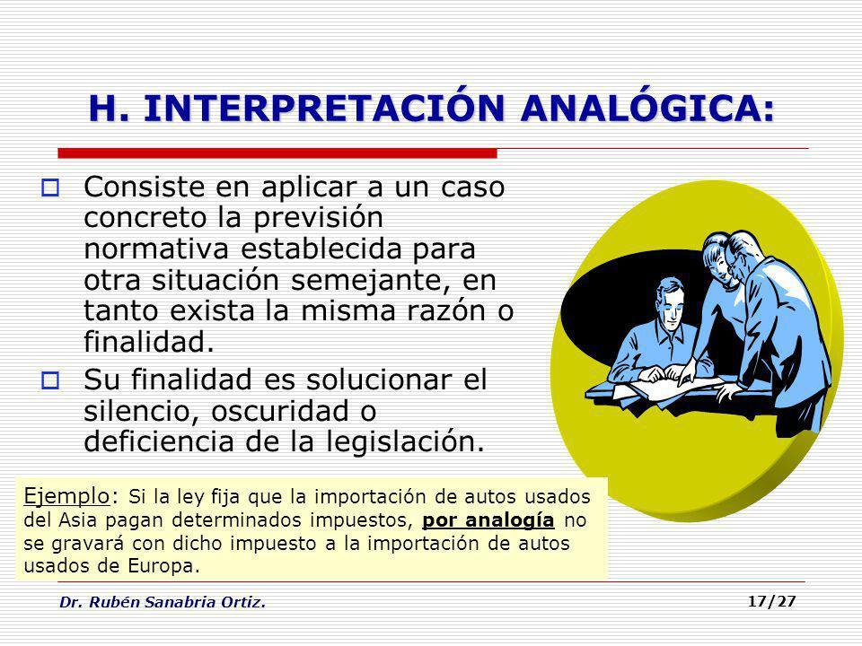H. INTERPRETACIÓN ANALÓGICA: