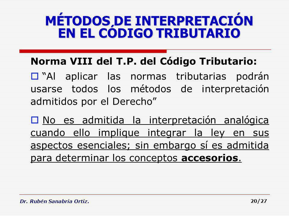MÉTODOS DE INTERPRETACIÓN EN EL CÓDIGO TRIBUTARIO