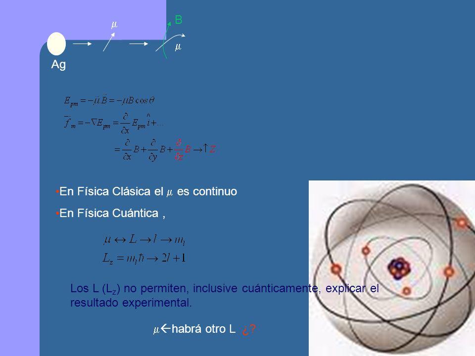 B   Ag. En Física Clásica el  es continuo. En Física Cuántica ,
