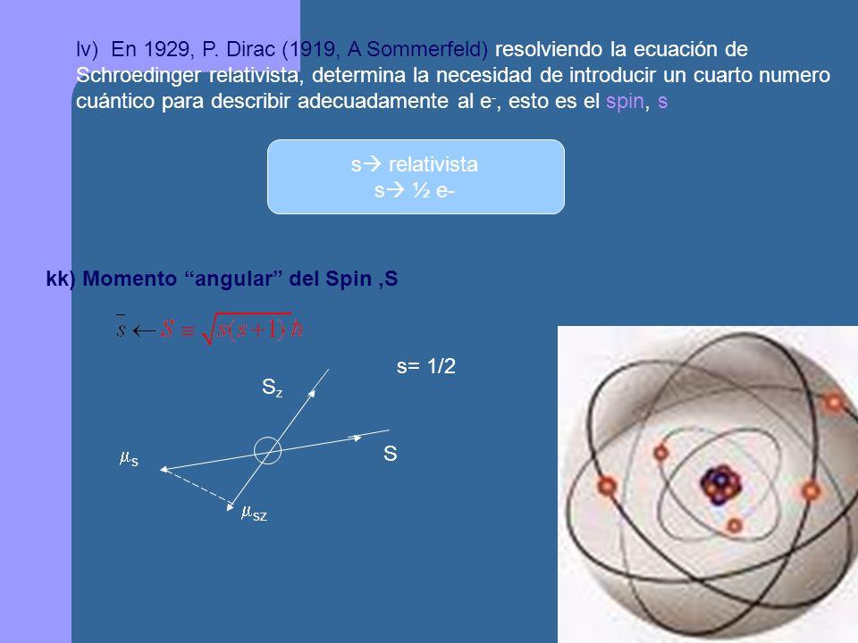 lv) En 1929, P. Dirac (1919, A Sommerfeld) resolviendo la ecuación de Schroedinger relativista, determina la necesidad de introducir un cuarto numero cuántico para describir adecuadamente al e-, esto es el spin, s