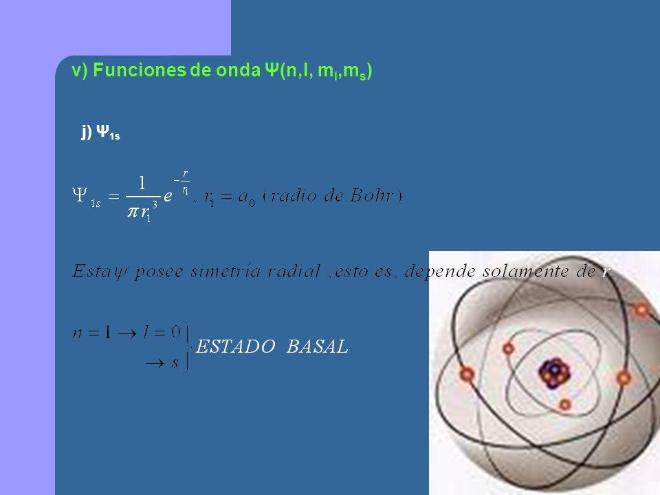 v) Funciones de onda Ψ(n,l, ml,ms)