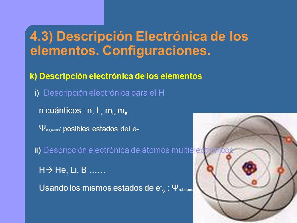 4.3) Descripción Electrónica de los elementos. Configuraciones.