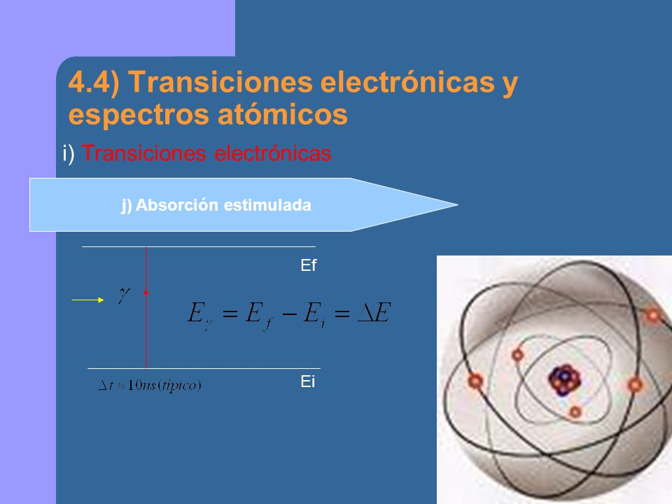 4.4) Transiciones electrónicas y espectros atómicos