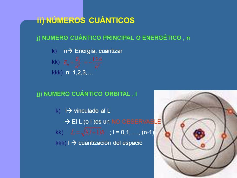ii) NÚMEROS CUÁNTICOS j) NUMERO CUÁNTICO PRINCIPAL O ENERGÉTICO , n