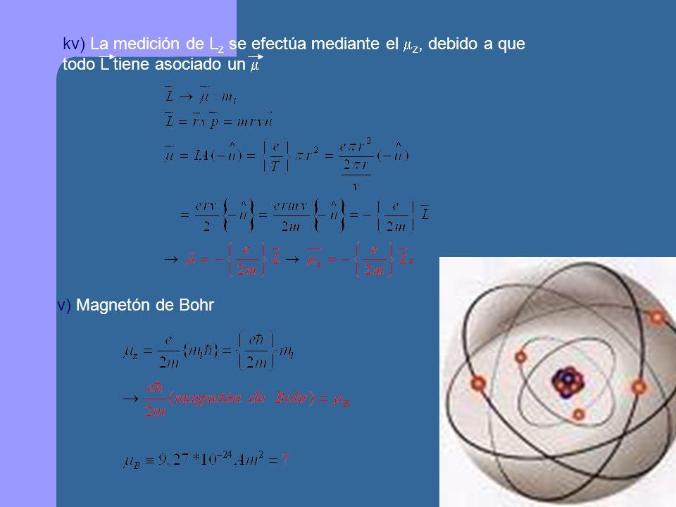 kv) La medición de Lz se efectúa mediante el z, debido a que todo L tiene asociado un 