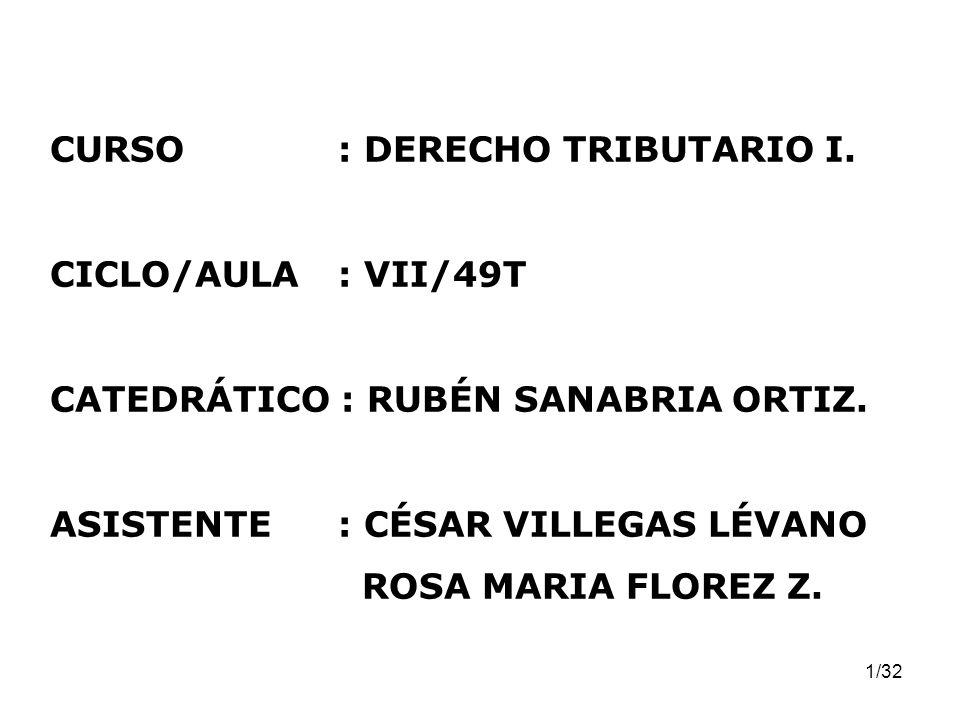 CURSO : DERECHO TRIBUTARIO I.