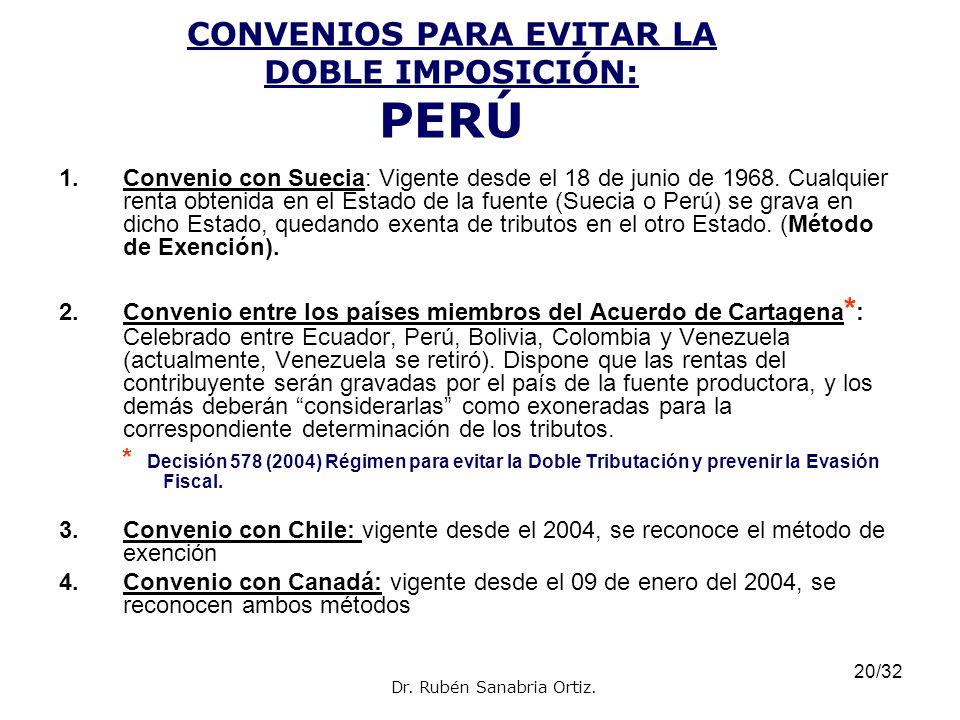 CONVENIOS PARA EVITAR LA DOBLE IMPOSICIÓN: PERÚ