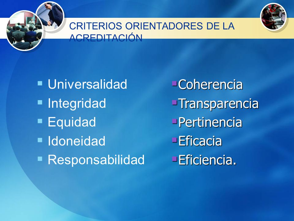 CRITERIOS ORIENTADORES DE LA ACREDITACIÓN