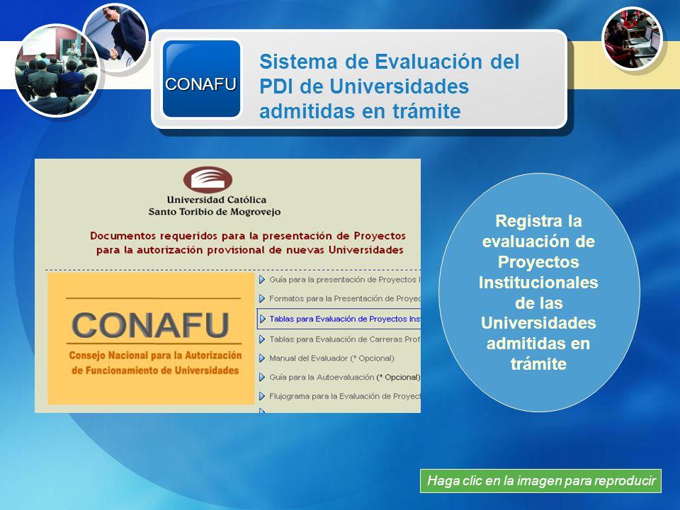 CONAFU Sistema de Evaluación del PDI de Universidades admitidas en trámite. Recursos Multimedia.