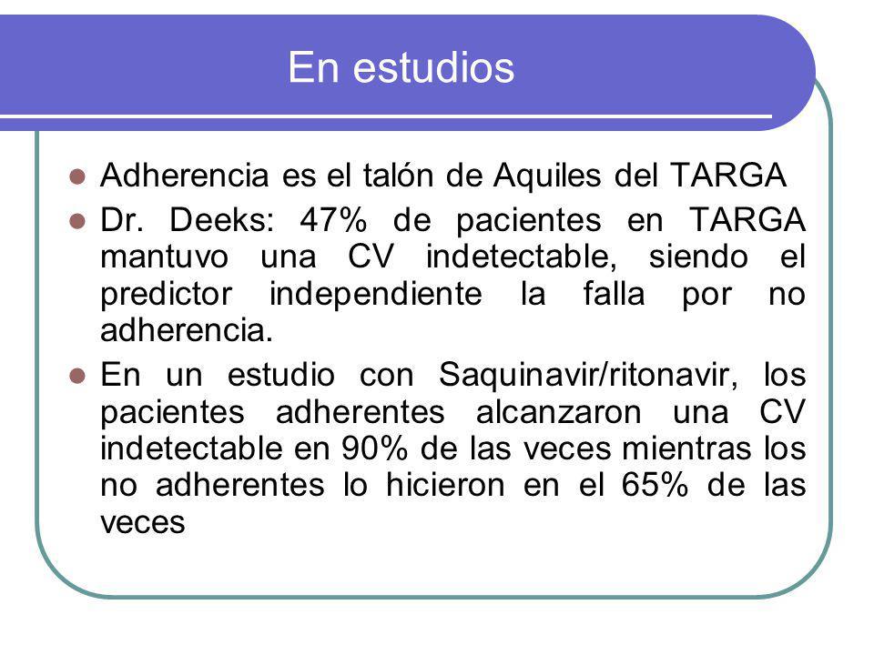 En estudios Adherencia es el talón de Aquiles del TARGA