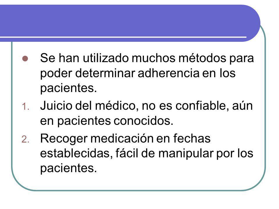 Se han utilizado muchos métodos para poder determinar adherencia en los pacientes.