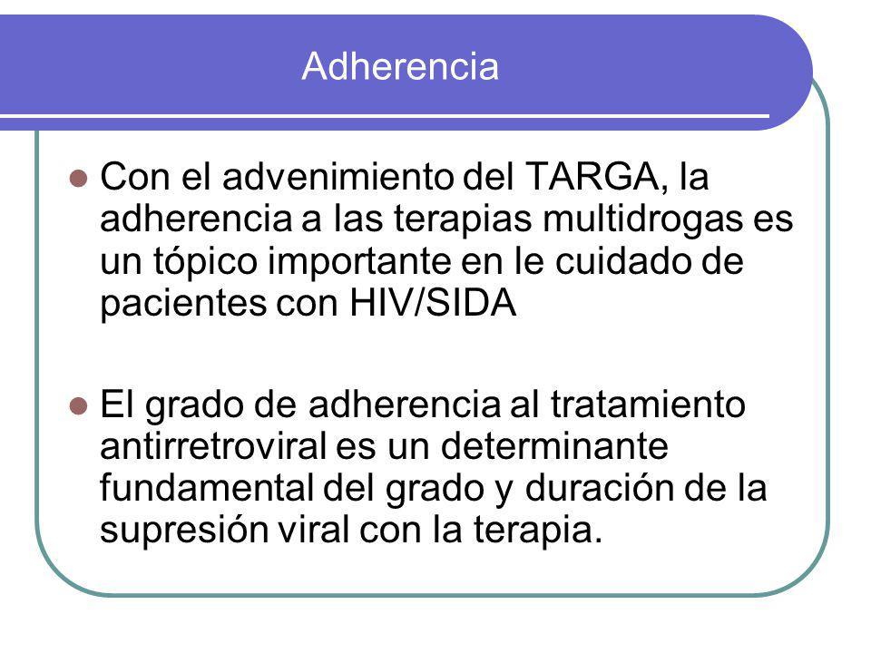 Adherencia Con el advenimiento del TARGA, la adherencia a las terapias multidrogas es un tópico importante en le cuidado de pacientes con HIV/SIDA.