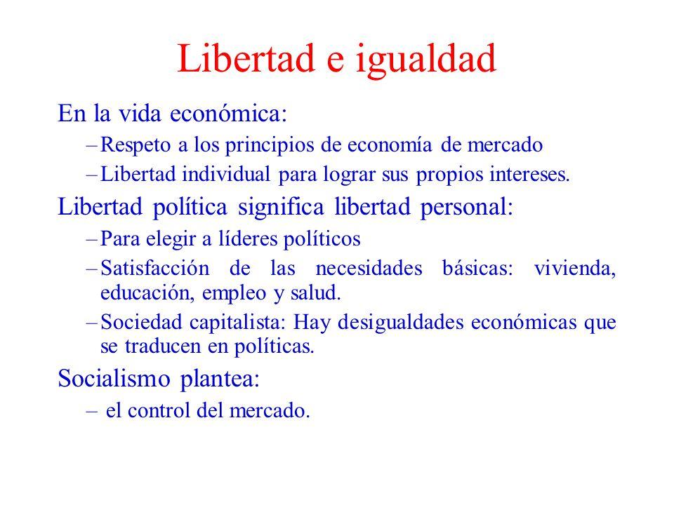 Libertad e igualdad En la vida económica: