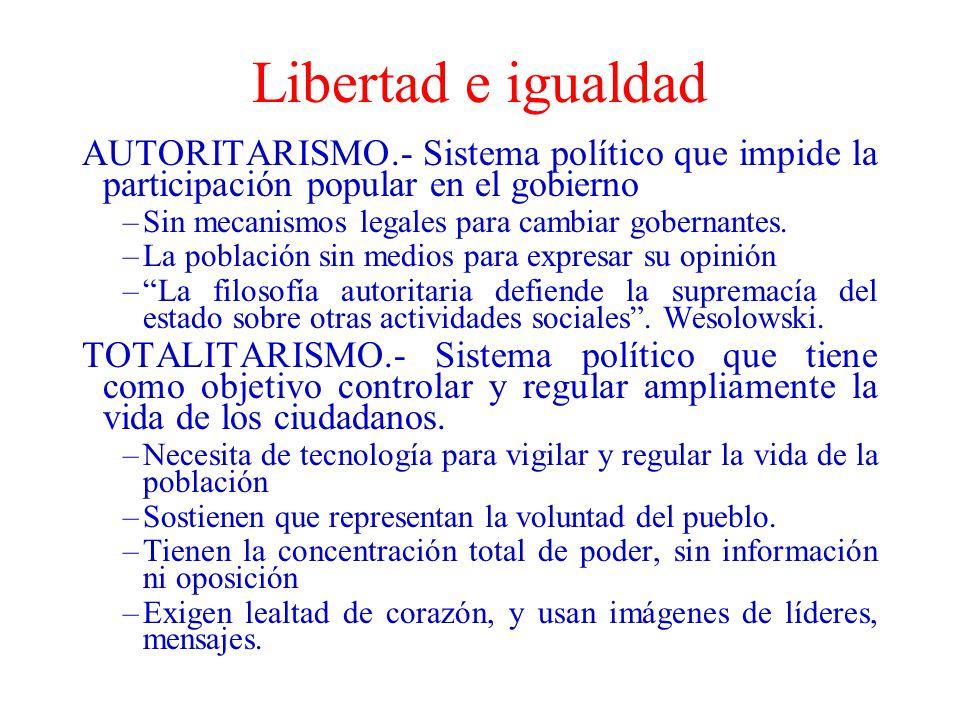 Libertad e igualdad AUTORITARISMO.- Sistema político que impide la participación popular en el gobierno.